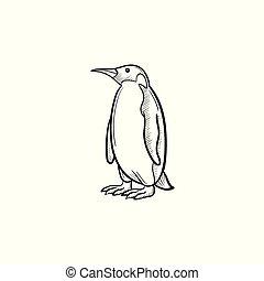 Penguin hand drawn sketch icon.