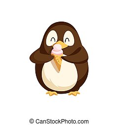 Penguin Happily Eating Ice Cream in Cone Vector