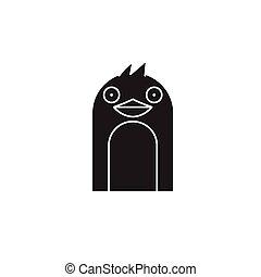 Penguin head black vector concept icon. Penguin head flat illustration, sign