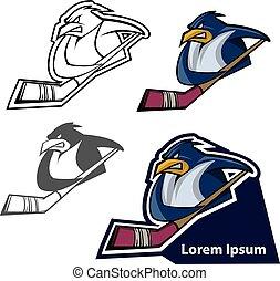 penguin mascot, sport team logo, hockey team emblem idea