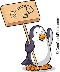 Penguin Holding a Wooden Sign - A vector image of a penguin...