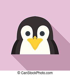 Penguin icon, flat style