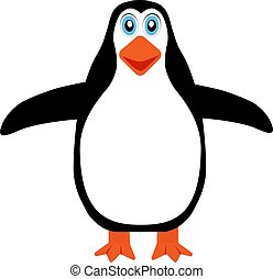 Penguin icon on a white background with beak and wings