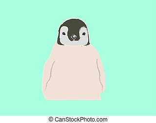 Penguin, illustration, vector on white background.