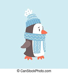 Penguin In Blue Scarf And Hat, Arctic Animal Dressed In Winter Human Clothes Cartoon Character