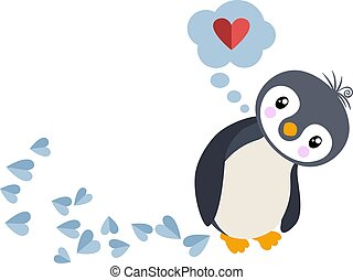 Penguin in love and thought bubble with heart