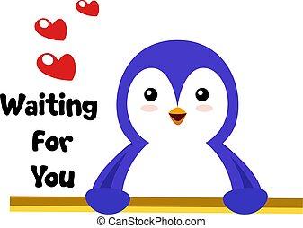 Penguin in love, illustration, vector on white background.