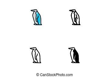 penguin isolated on white background, vector illustration