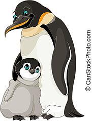 penguin, keizer, kuiken