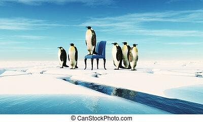 Penguin leader sits on a chair