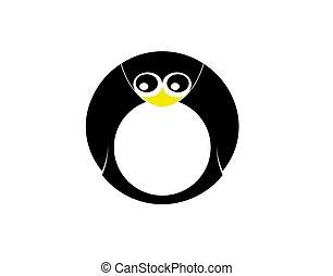 Penguin Letter O on a white background in vector illustration