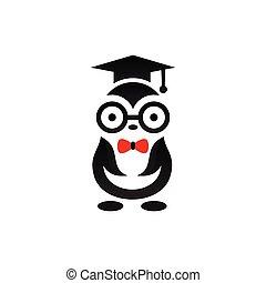 penguin logo with graduation concept