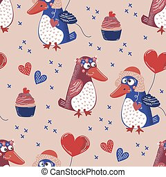 PENGUIN LOVE Valentine Day Seamless Pattern Vector Illustration