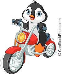 Illustration of very cute penguin motorcyclist