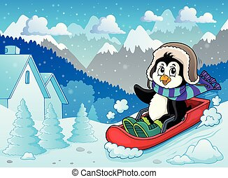 Penguin on bobsleigh theme image 2 - eps10 vector ...