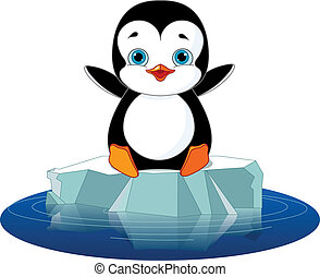 Cute penguin on a ice floe