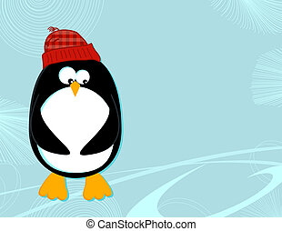 Penguin on ice landscape - Styled cartoon of a penguin in a...