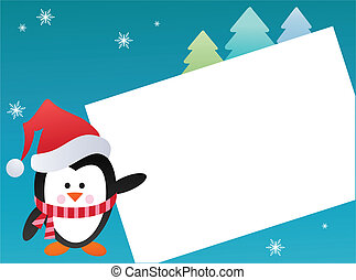 Penguin on snowy background , greeting card template