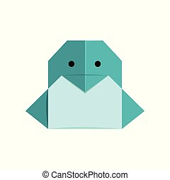 Penguin origami paper animal vector Illustration on a white background
