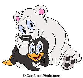 Penguin & Polar Bear Friends - Hand drawn cartoon bird and...