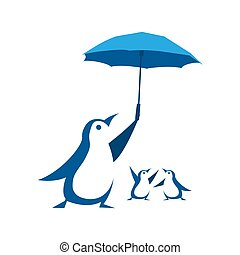 Penguin protect their children with umbrella. .Vector illustration - Vector