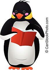 Penguin reads icon, cartoon style