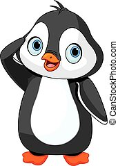 Penguin Salute - Illustration of cute baby penguin saluting