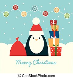 penguin Santa with gifts