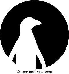 Penguin silhouette in front of the moon