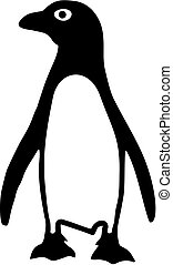 Penguin silhouette in two colors
