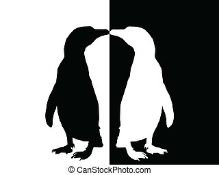 penguin - silhouette - penguin black and white