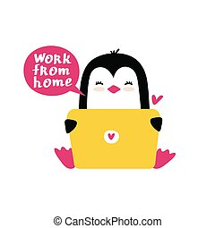 Penguin sitting with a laptop