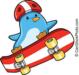 Penguin Skateboarding Vector Illustration art