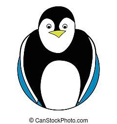 Penguin sticker icon flat