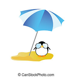 penguin sweet and cute with sunglass vector illustration