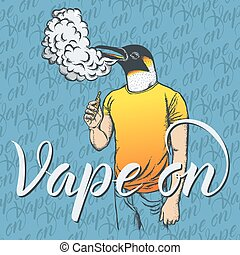 Penguin vaping an electronic cigarette - Penguin vector vape...