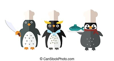 Penguin vector animal character illustration.