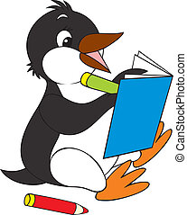 Penguin - penguin writing in a notebook