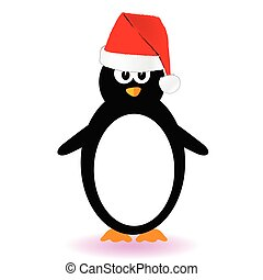 penguin vector illustration with red hat