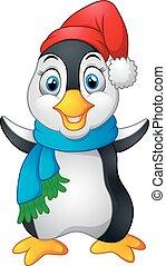 penguin waving hand wearing red cap - vector illustration of...