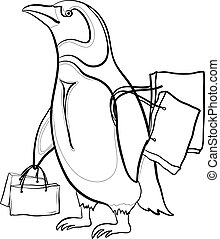 Penguin with bags, contours - Antarctic emperor penguin with...