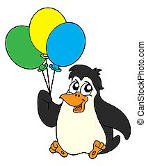 Penguin with balloons - Penguins with balloon - isolated...