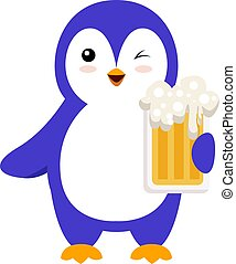 Penguin with beer, illustration, vector on white background.