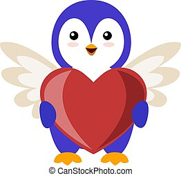 Penguin with big heart, illustration, vector on white background.