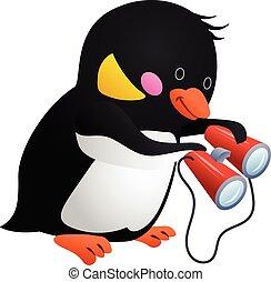 Penguin with binoculars icon, cartoon style