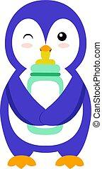 Penguin with bottle, illustration, vector on white background.