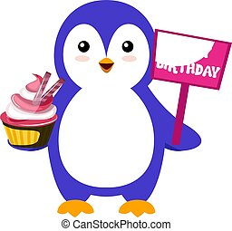 Penguin with cake, illustration, vector on white background.