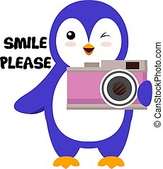 Penguin with camera, illustration, vector on white background.