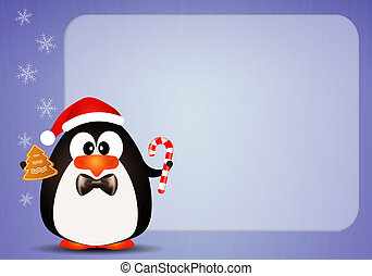 Penguin with candy cane background