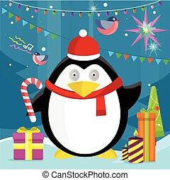Penguin with Candy Stick Near Christmas Presents
